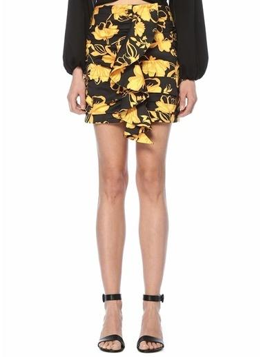 Cameo Sarı Çiçekli Fırfırlı Mini Etek Siyah